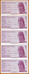 Indonesia 5 Sen 1964 P 91 Unc Lot 5 Pcs Goods Of Every Description Are Available Indonesia