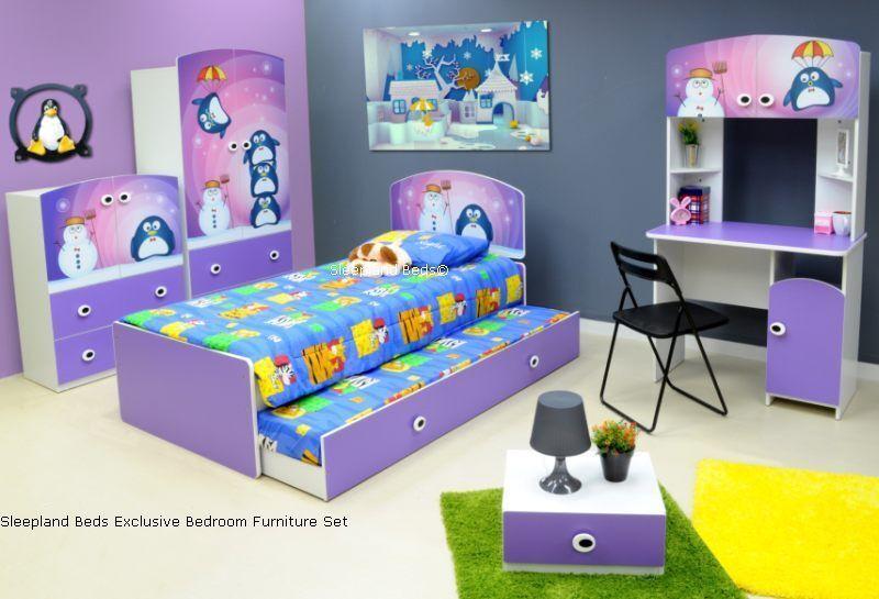 Childrens Lilac Bed Frame And Bedroom Furniture Set Trundle   Penguin Kids Theme
