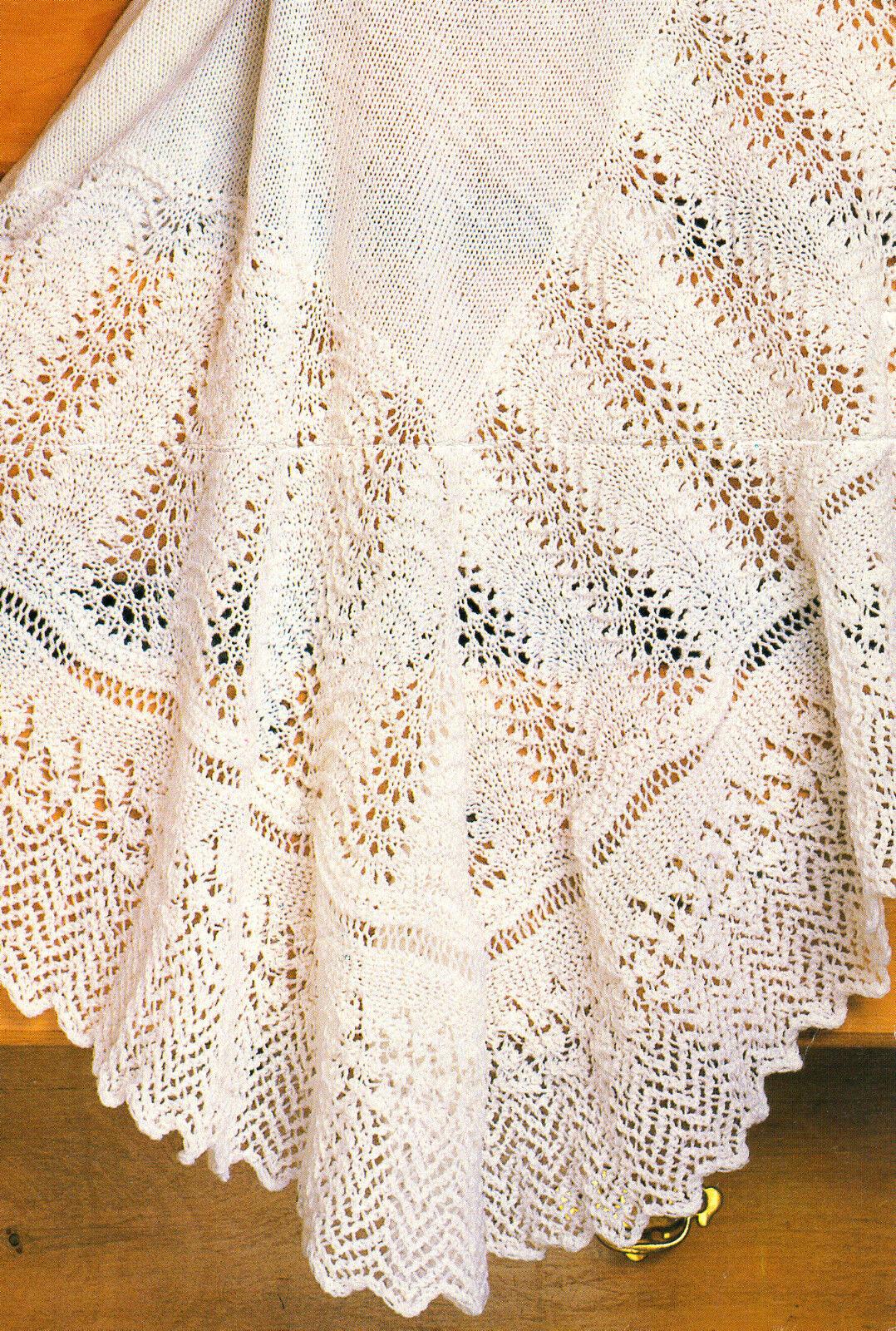 Lace Zig Zag Scarf Knitting Pattern : Lace fan zig zag border baby shawl quot knitting pattern ply ebay