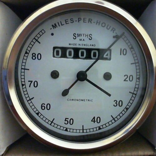 80 MPH Speedometer fits Royal Enfield Smiths Type White m18x1.5