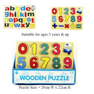 Wooden-ABC-Letters-Alphabet-123-Numbers-Puzzle-Childrens-Kids-Learning-Toy