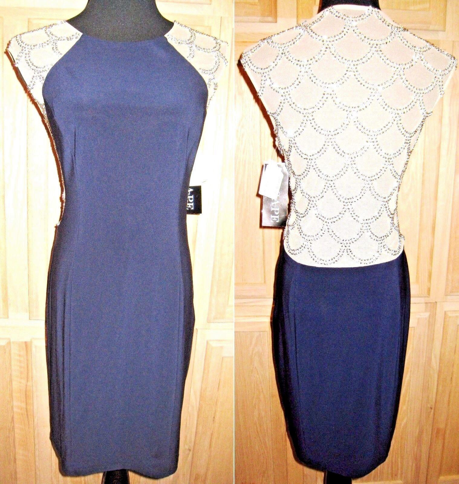 Xscape XS6489 Navy Bead Detail Contrast Stretch Jersey Sheath Dress, 14R -