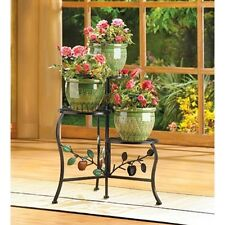 Country Le Wrought Iron Outdoor Garden Planter 3 Tier Plant Stand Flower Pot