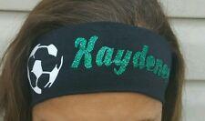 Soccer Ball Personalized Black/Glitter Green Cotton Stretch Sports Yoga Headband