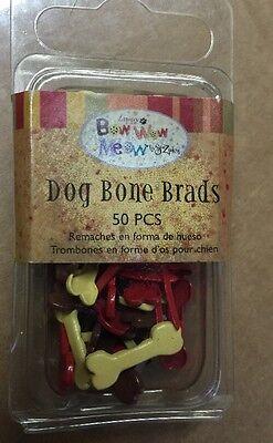 Bow Wow Meow Dog Bone Brads For Scrapbooks By Sue Zipkin, 50 Ct, New