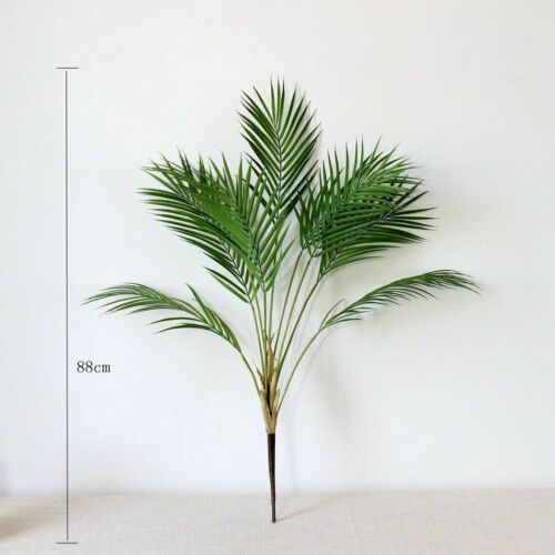 Palm Plastic Plants Artificial Tropical Fake Indoor Tree Branch Plant Leaves