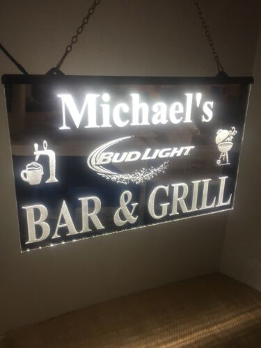 Bar And Grill personalized name /& brand mirrored Led Light Sign man cave
