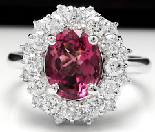 3.95 Carats Natural Pink Tourmaline and Diamond 14K Solid White Gold Ring