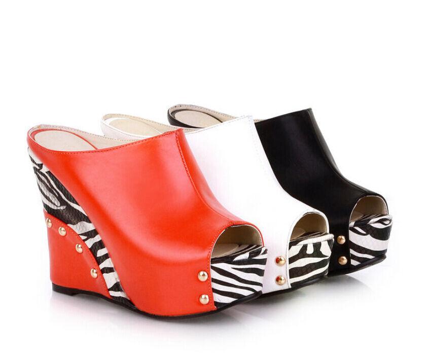 Stripe Open Toe Heels Womens High Heels Toe Wedge Sandals Platform  shoes Fashion UK NEW aed8f6
