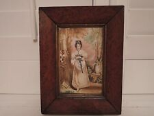 19th C. Antique Watercolor Portrait Painting w/Walnut Frame Gentile Woman in Cou