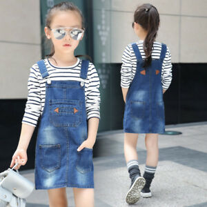 5372edf65e Kids Girls Casual cotton Denim Overalls Jumper Dress Suspender Jeans ...