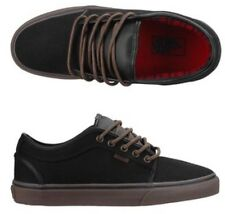 New Vans Mens 9.5 Womens 11 Chukka Low Black Gum Flannel Skate Shoes Sneakers