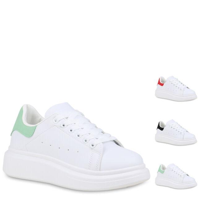 Damen Plateau Sneaker Keilsneaker Wedges Plateauschuhe Schnürer 898828 Hot