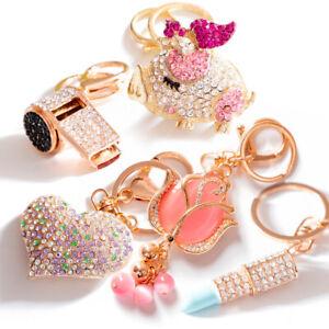 Flower-Crystal-Rhinestone-Keyring-Keychain-Pendant-Bag-Purse-Car-Key-Chain-Ring