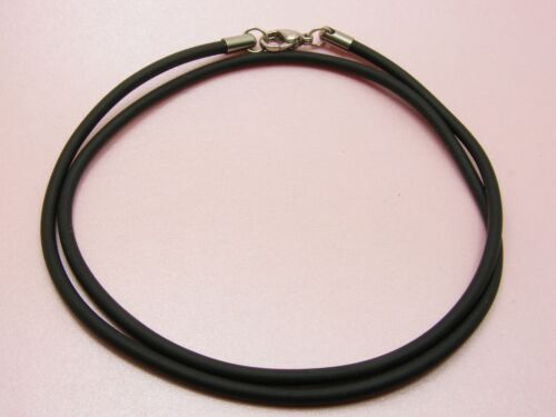 """24/"""" ~Custom Made~STAINLESS STEEL 3mm SILICON Rubber NECKLACE Extra Long 61cm"""