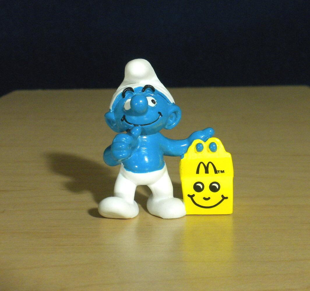 Smurfar McDonalds smurf lycklig Meal gul låda årgång Figur PVC Leksaker