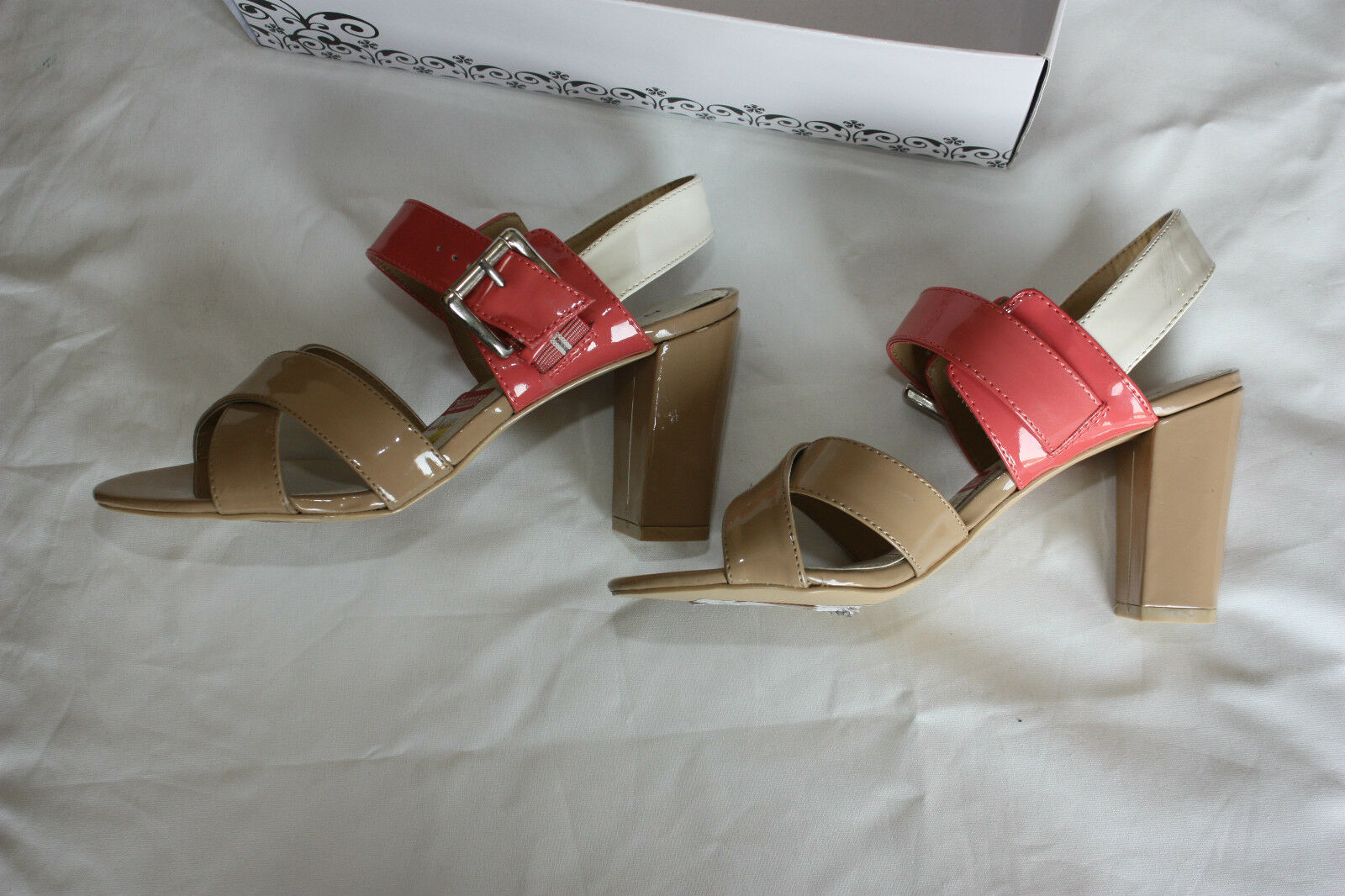 Sandals  RAMPAGE & Juliano Patent Leather Beige & RAMPAGE Pink    Size 6 M NEW NWT c4e776