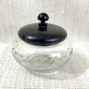 Antico Toletta Barattolo Taglio Bicchiere Cristallo Ebano Legno IN Coperchio Pot