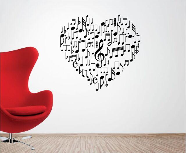 MUSICAL LOVE HEART vinyl wall art sticker bedroom lounge MUSIC NOTES