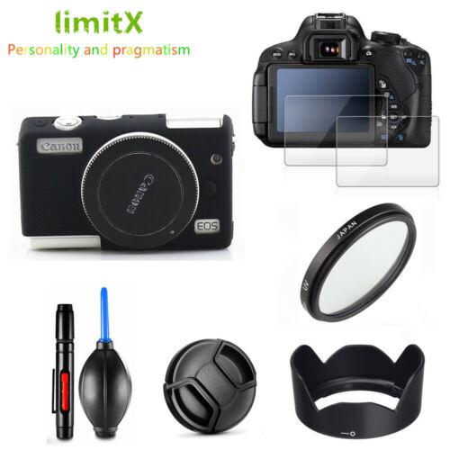 Kit de cámara Protector de Pantalla Estuche Paquete UV Filtro Parasol Tapa Para Canon M200