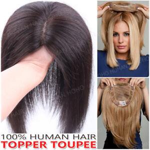 US-100-Real-Human-Hair-Mono-Silk-Base-Women-039-s-Topper-Hairpiece-Toupee-Wigs-Clip
