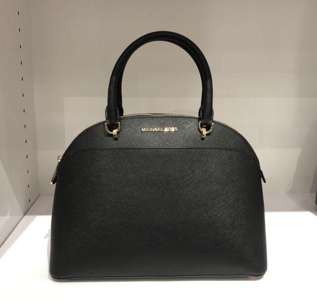 Michael Kors Large Dome Emmy Saffiano Leather Satchel Handbag Black
