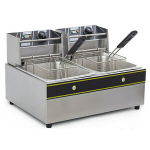 Electric Countertop Deep Fryer Dual Tank Commercial