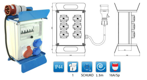 Mobiler Baustromverteiler 2  x 16A//230V LS Legrand Zuleitung 1 x CEE16A//400V