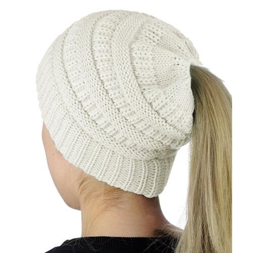 Womens Beanie Tail Messy Soft Bun Hat Ponytail Stretchy Knit Crochet Skull Cap Y