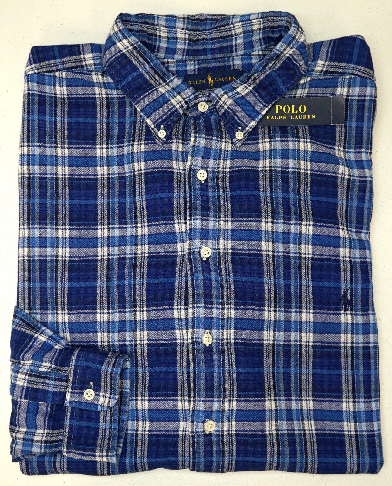 NWT  Polo Ralph Lauren Cotton LS Shirt Men 3XLT bluee Plaid