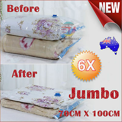 6x JUMBO Vacuum Storage Bags Saver Seal Compressing Space Saving Experts 70X100