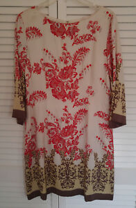 b44225ea20d Neiman Marcus size 10 Silk border tunic dress Red Pink Brown ...