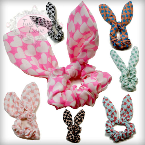 Bendable Mouldable CLEARANCE Large Retro Heart Print Scrunchies with Soft Wire