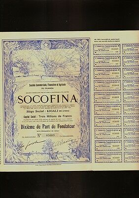 AFRICA SOCOFINA KIGALI RUANDA dd 1928 with dividend coupons
