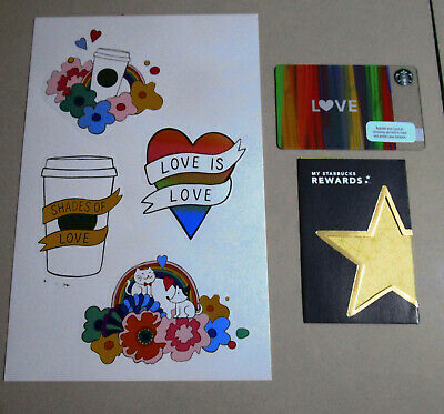 Starbucks Cards with pin intact//sticker