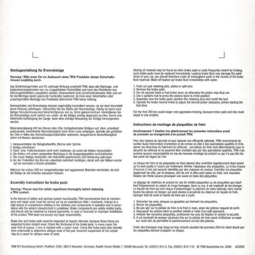 14-18 1x TRW ECO Bremsbeläge vorne Suzuki Burgman 125 UH 125 BP, WVBP