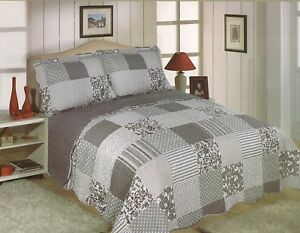 King Size Ariana Multi Gris Patchwork cheque solo tiro
