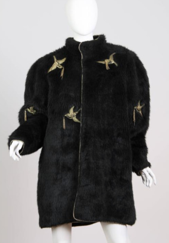 Vintage Kansai Yamamoto Black Faux Fur Gold beaded