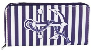 Ladies Purse Wallet Purse large Anchor Marine Leather Blue / White