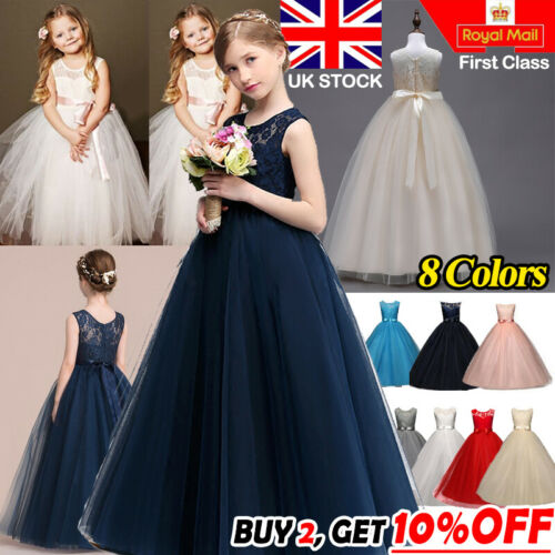 Lace Flower Bridesmaid Maxi Full Dress Party Princess Prom Wedding Gown Girl Kid