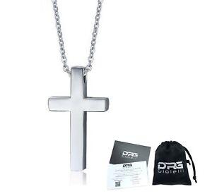 Collana-Acciaio-Uomo-Donna-Croce-Crocifisso-Preghiera-Religioso-Rosario-Incision