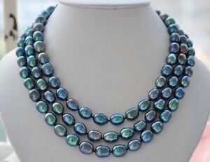 LONGER-52-8X10mm-Natural-south-sea-genuine-Peacock-green-Drop-pearl-necklace-AAA