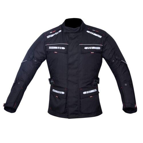 Motorcycle Motorbike Jacket Waterproof Textile CE Armoured Reflectors Black