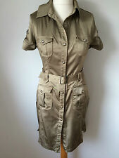 Karen Millen Sexy Gold Khaki  Military Trench Shirt Dress UK 10