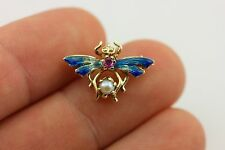 14k yellow gold brooch pin cultured pearl pink sapphire enamel insect bumble bee