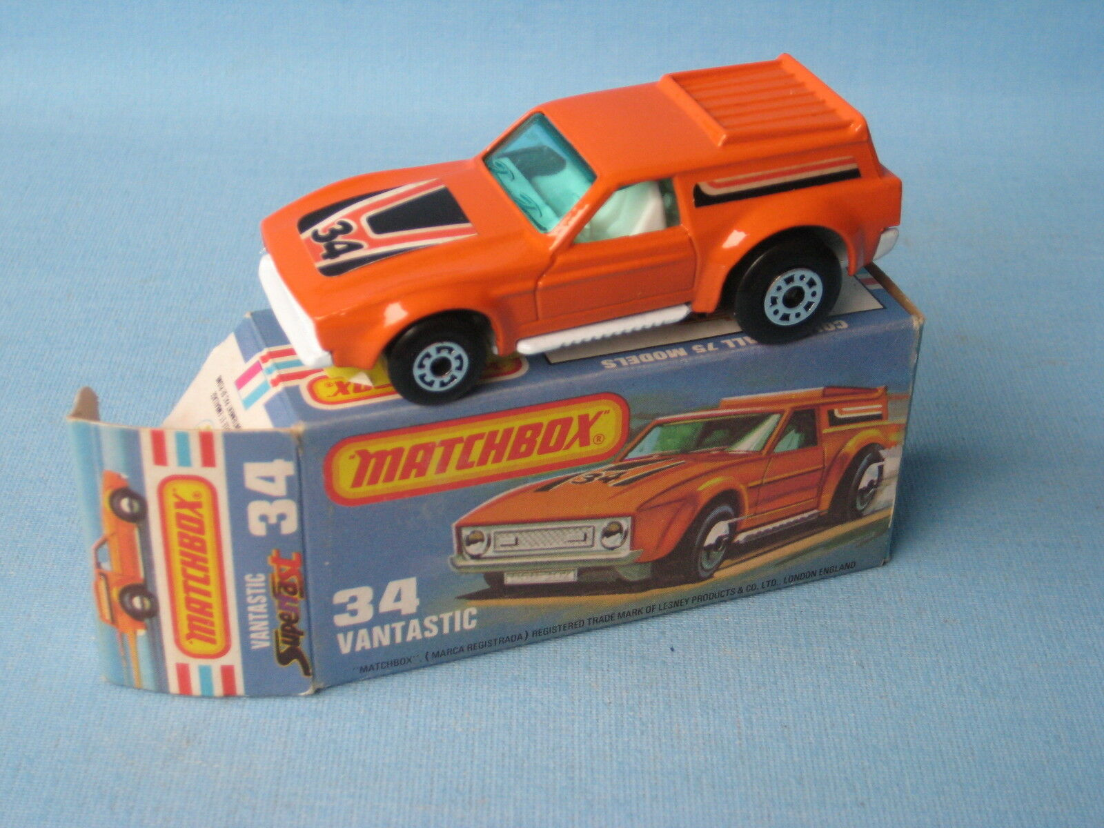 Lesney Matchbox Superfast 34 Vantastic Mustang Stripes Labels Boxed