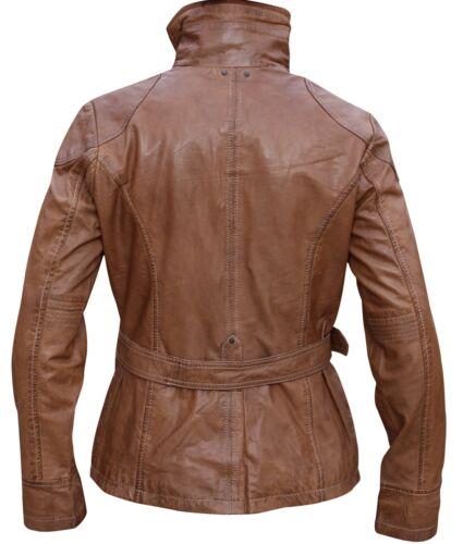 Tan Ladies Fashion Leather Jacket Christmas gift Women Vintage
