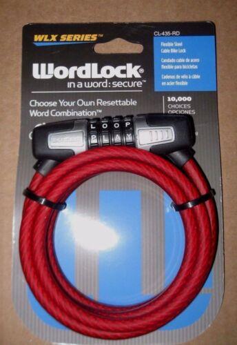 "Wordlock WLX series CL-435-RD 5 Feet 4-Dial 8mm Combination Bike Lock/""BRAND NEW/"""