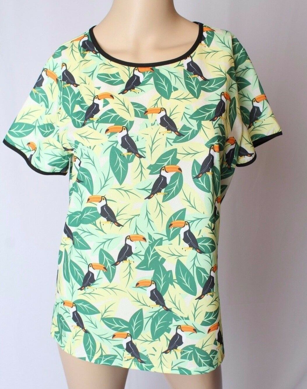 NWT Sugarhill Boutique Modcloth Toucan Bird Tropical Print Sheer Blouse Top