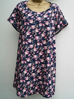 New Ladies Plus Size Short Sleeve  Blue Floral Print Tunic Top Blouse 18-30